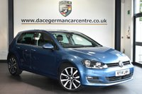 USED 2014 14 VOLKSWAGEN GOLF 2.0 GT TDI BLUEMOTION TECHNOLOGY 5DR 148 BHP Finished in a stunning metallic blue styled with alloys. Upon opening the drivers door you are presented with cloth upholstery, full service history, satellite navigation, bluetooth, cruise control, DAB radio, multi functional steering wheel, heated mirrors, parking sensors