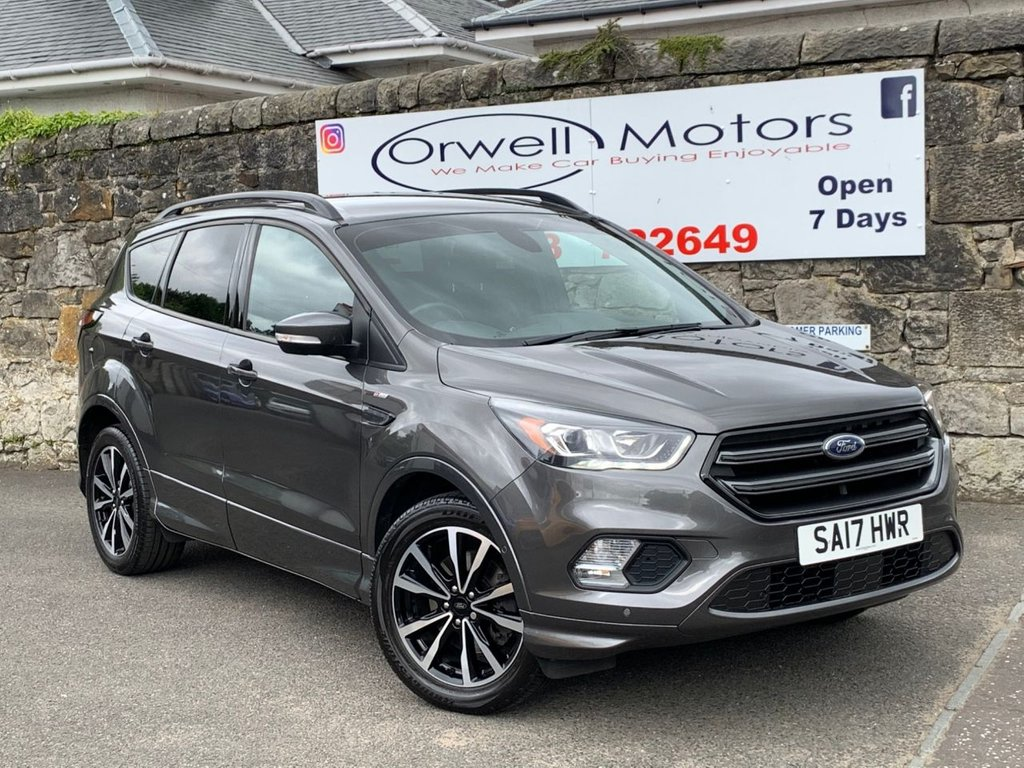 USED 2017 17 FORD KUGA 1.5 ST-LINE TDCI 5d 118 BHP FULL MAIN DEALER SERVICE HISTORY+SATELLITE NAVIGATION+FINANCE AVAILABLE+CRUISE CONTROL+ELECTRIC FOLDING MIRRORS