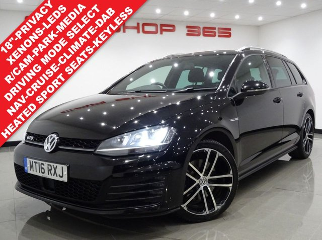"USED 2016 16 VOLKSWAGEN GOLF 2.0 TDI GTD BLUEMOTION TECH (184 BHP) DSG ESTATE 5DR..HIGH SPEC !!..NAV..KEYLESS..REVERSE CAMERA..XENONS..CRUISE..PRIVACY 18""+RCAM+KEYLESS+TINTS+XENON+HEATED SEATS+NAV+CRUISE"