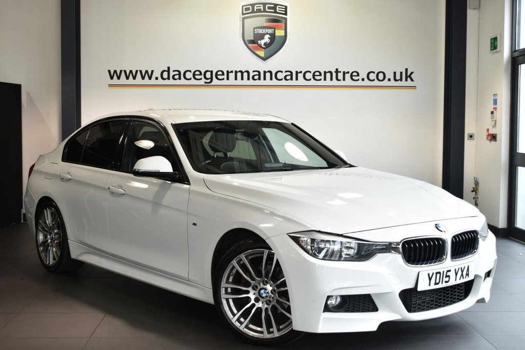 """USED 2015 W BMW 3 SERIES 2.0 320D M SPORT 4DR AUTO 181 BHP Finished in a stunning alpine white styled with 19"""" alloys. Upon opening the drivers door you are presented with full leather interior, satellite navigation, bluetooth, cruise control, DAB radio, Multifunction steering wheel, heated sport seats, Automatic air conditioning, rain sensors, Light package, parking sensors"""
