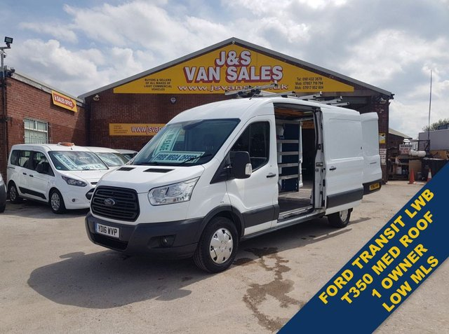 USED 2016 16 FORD TRANSIT T350 125 BHP L.W.B MED ROOF 61K MLS  REAR RACKING ((( LOTS MORE LOW MLS VANS IN STOCK )))
