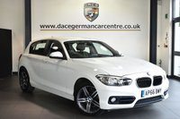"USED 2016 66 BMW 1 SERIES 2.0 118D SPORT 5DR AUTO 147 BHP Finished in a stunning alpine white styled with 17"" alloys. Upon opening the drivers door you are presented with anthraicte upholstery, full service history, satellite navigation, bluetooth, DAB radio, sport seats, Multifunction steering wheel, Rain sensors"