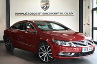 """USED 2016 16 VOLKSWAGEN CC 2.0 GT TDI BLUEMOTION TECHNOLOGY DSG 4DR AUTO 148 BHP Finished in a stunning metallic red styled with 18"""" alloys. Upon opening the drivers door you are presented with full leather interior, full service history, satellite navigation, bluetooth, heated seats, cruise control, DAB radio, multi functional steering wheel, heated mirrors, climate control, parking sensors"""