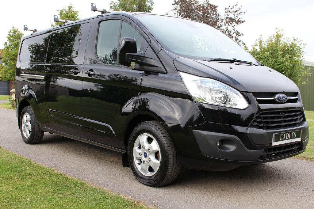 USED 2016 65 FORD TRANSIT CUSTOM 2.2 290 LIMITED LR DCB 124 BHP SAT NAV + LIMITED - DOUBLE CAB - BLACK -
