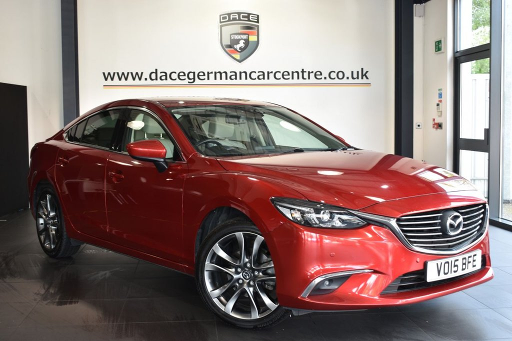 "USED 2015 15 MAZDA 6 2.0 SPORT NAV 4DR 163 BHP Finished in a stunning soul metallic red styled with 19"" alloys. Upon entry you are presented with full leather interior, full service history, satellite navigation, bluetooth, head-up display, heated seats with memory , reverse camera, dab radio, parking sensors, electric folding mirrors, multi function steering wheel"