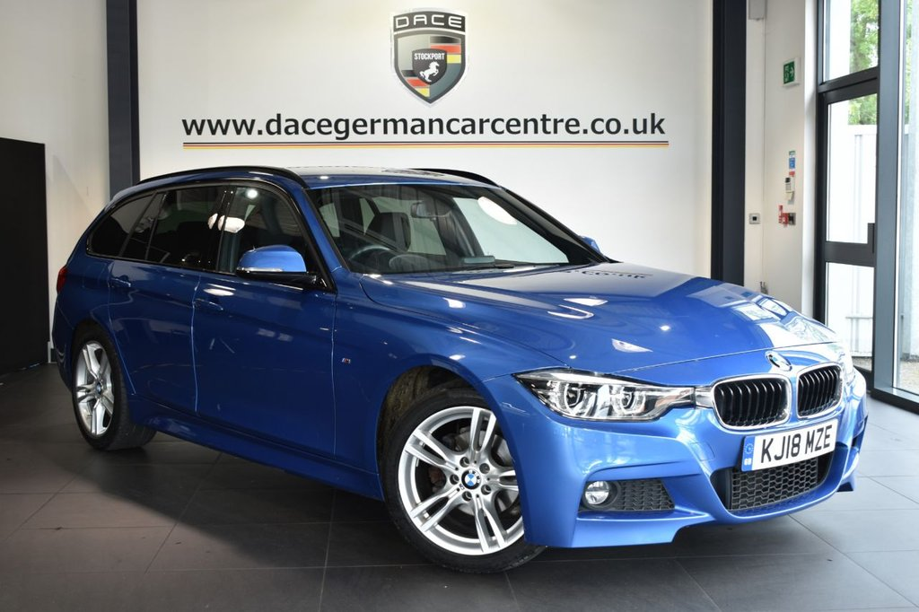 "USED 2018 18 BMW 3 SERIES 2.0 320I M SPORT TOURING 5DR AUTO 181 BHP Finished in a stunning estoril metallic blue styled with 18"" alloys. Upon opening the drivers door you are presented with full leather interior, full service history, satellite navigation, bluetooth, cruise control, DAB radio, LED Fog lights, LED headlights, Connected Drive Services, sport seats, rain sensors, parking sensors"