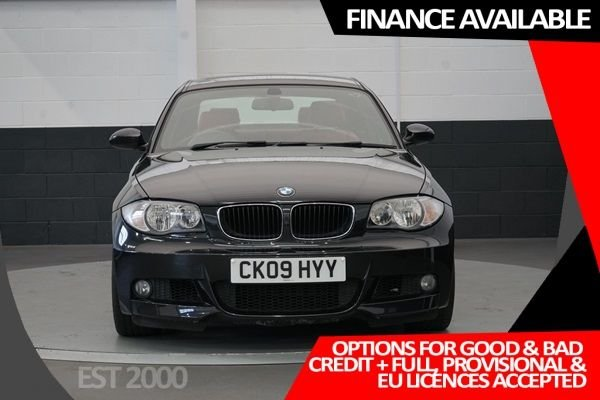 """USED 2009 09 BMW 1 SERIES 2.0 120D M SPORT 2d 175 BHP * 18"""" ALLOYS * REAR PARKING SENSORS * SERVICED 400 MILES AGO * CORAL RED BOSTON LEATHER * MOT MAY 2021 *"""