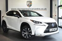 "USED 2016 66 LEXUS NX 2.5 300H F SPORT 5DR 153 BHP Finished in a stunning white styled with 18"" alloys. Upon opening the drivers door you are presented with full leather interior, full service history, satellite navigation, bluetooth, panoramic roof, heated elelctric seats, cruise control, DAB radio, reversing camera, multi functional steering wheel, parking sensors"
