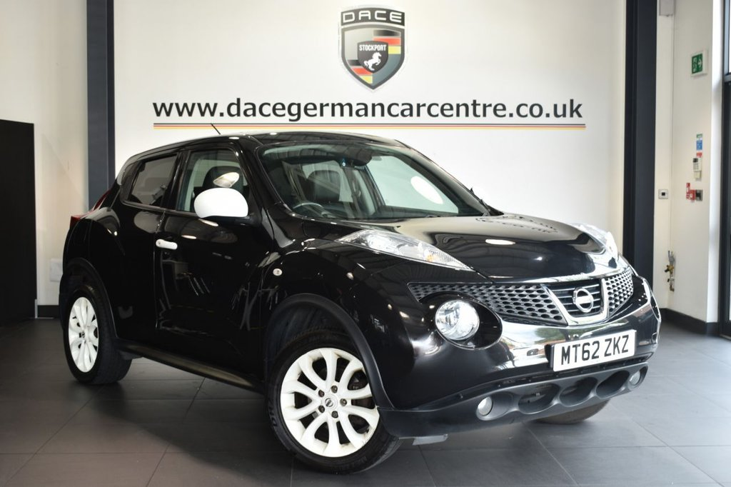 """USED 2012 62 NISSAN JUKE 1.6 MINISTRY OF SOUND 5DR 117 BHP Finished in a stunning black styled with 17"""" alloys. Upon opening the drivers door you are presented with full black leather interior, satellite navigation, bluetooth, heated seats, cruise control, multi functional steering wheel, privacy glass, air conditioning"""
