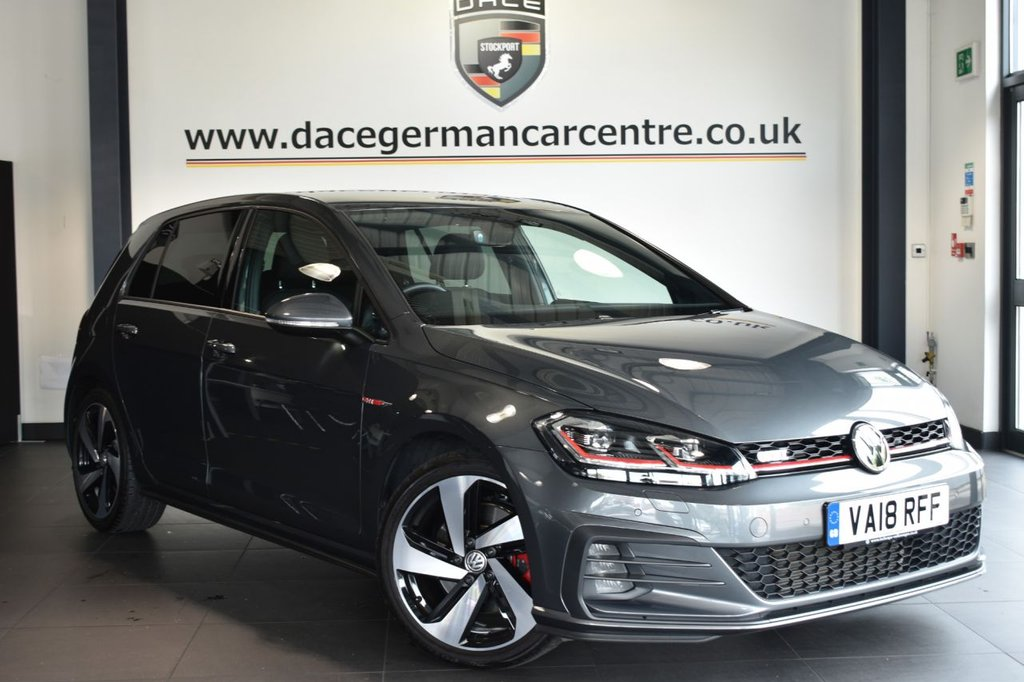 """USED 2018 18 VOLKSWAGEN GOLF 2.0 GTI TSI 5DR 227 BHP Finished in a stunning metallic grey styled with 18"""" alloys. Upon opening the drivers door you are presented with sport upholstery, full service history, satellite navigation, bluetooth, heated sport seats, LED headlights, virtual cockpit, cruise control, climate control, insulated tinted glass, parking sensors"""