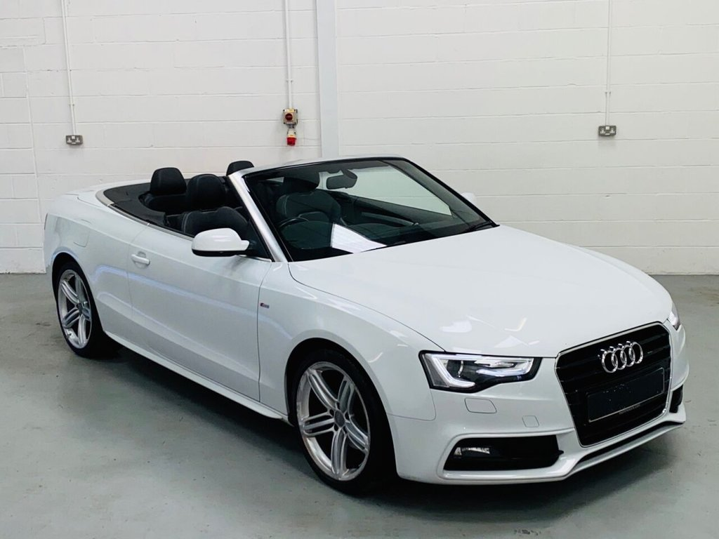 USED 2014 63 AUDI A5 2.0 TDI S LINE SPECIAL EDITION 2d 175 BHP Stunning Glacier White S-Line Convertible, Full Black Leather Interior, 19 Inch Segment Wheels, Heated Seats, Neck Level Heating, B&O Audio