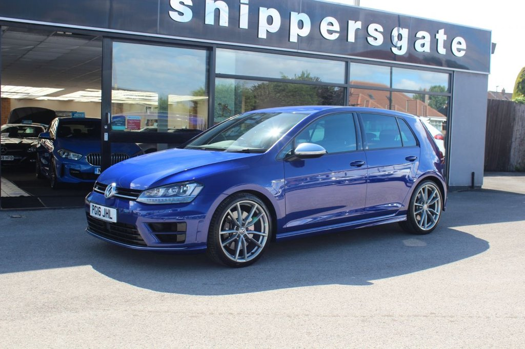 """USED 2016 P VOLKSWAGEN GOLF 2.0 R DSG 5d 298 BHP Lapiz Blue Metallic, VW Warranty Until 31/05/2020,  1 Previous Owner, Full Black Vienna Leather, Heated Seats, 19"""" Pretoria Alloys, Bluetooth Telephone And Audio Connection, Climate Control, Cruise Control With Speed Limiter, DAB Radio, Electric Front And Rear Windows, Heated And Electric Mirrors, Front and Rear Parking Sensors, 2 Keys and Book Pack, Full VW Service History - 4 Services last done at 19K including Haldex Oil Change."""