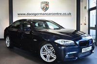 """USED 2013 62 BMW 5 SERIES 2.0 520D M SPORT 4DR 181 BHP Finished in a stunning carbon black styled with 19"""" alloys. Upon opening the drivers door you are presented with full leather interior, excellent service history, pro satellite navigation, bluetooth, heated sport seats, xenon lights, cruise control, Headlight cleaning system, Driving experience switch incl. ECO PRO, Adaptive Headlights, High-beam assistant, parking sensors"""