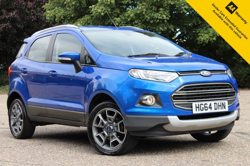 USED 2015 64 FORD ECOSPORT 1.5 TITANIUM X-PACK TDCI 5d 88 BHP ** FULL SERVICE HISTORY ** BRAND NEW SERVICE DONE AUGUST 2020 ** LONG MOT - FEB 2021 ** FULL LEATHER INTERIOR ** CRUISE + CLIMATE CONTROL ** BLUETOOTH + MUCH MORE ** ONLY £30 ROAD TAX - 60+ MPG ** LOW RATE £0 DEPOSIT FINANCE AVAILABLE **