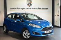 "USED 2014 63 FORD FIESTA 1.2 ZETEC 3DR 81 BHP Finished in a stunning candy blue styled with 15"" alloy wheels. Upon entry you are presented with cloth upholstery, full service history, bluetooth, multi function steering wheel, air conditioning, £30 yearly road tax, cheap insurance, great first car, electric door mirrors, sun visor with vanity mirror"