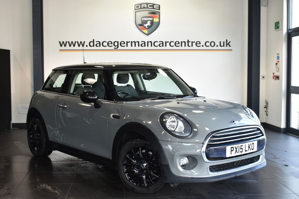 """USED 2015 15 MINI HATCH COOPER 1.5 COOPER D 3d 114 BHP Finished in a stunning moonwalk metallic grey styled with 16"""" alloys. Upon entry you are presented with half black leather/cloth interior, bluetooth, cruise control, DAB radio, parking sensors, MINI driving modes, light package, rain sensors, sport seats, multifunction steering wheel, MINI excitement package, isofix child seat system, Chili II pack, automatic air conditioning, electric door mirrors, aux/usb media, beautifully maintained"""