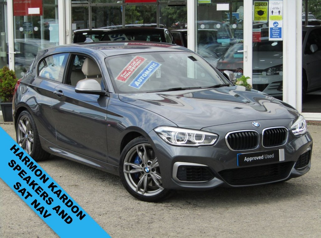 USED 2017 17 BMW 1 SERIES 3.0 M140I 3d 335 BHP Finished in MINERAL GREY MET with contrasting OYSTER HEATED LEATHER trim. This M140i is fun to drive, powerful and comes with a high-quality interior, in short it's a modern day performance bargain. Punching out 335 BHP. Features include Heated OYSTER Leather, Sat Nav, DAB radio, Cruise, 2 keys and much more. DEALER SERVICED AT 13123 miles.