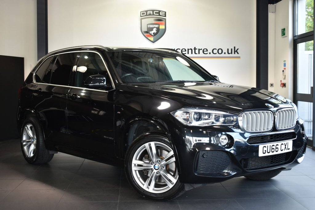 """USED 2016 66 BMW X5 3.0 XDRIVE40D M SPORT 5DR AUTO 309 BHP Finished in a stunning sapphire metallic black styled with 19"""" alloys. Upon opening the drivers door you are presented with full leather interior, full service history, pro satellite navigation, bluetooth, heated sport seats with memory, heated rear seats, dab radio, cruise control, xenon lights, Headlight cleaning system, LED Fog lights, Automatic air conditioning, light package, parking sensors"""