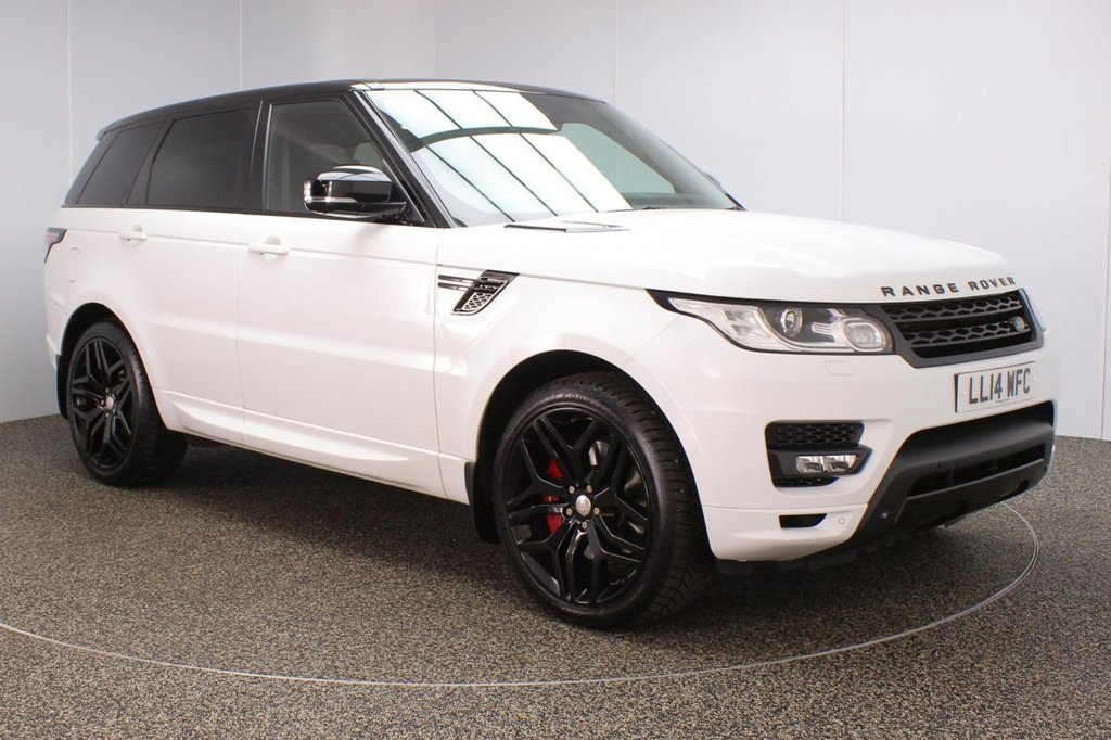 USED 2014 14 LAND ROVER RANGE ROVER SPORT 3.0 SDV6 AUTOBIOGRAPHY DYNAMIC 5DR AUTO 288 BHP FULL LAND ROVER SERVICE HISTORY + AIR CON LEATHER SEATS + REAR HEATED LEATHER SEATS + PANORAMIC ROOF + SATELLITE NAVIGATION + SURROUND CAMERA SYSTEM + REVERSE CAMERA + PARKING SENSOR + PARKING HEATING WITH REMOTE CONTROL + DUAL VIEW TOUCHSCREEN + HEATED STEERING WHEEL + BLUETOOTH + CRUISE CONTROL + BLIND SPOT MONITOR + XENON HEADLIGHTS + PRIVACY GLASS + DAB RADIO + DVB-T TV TUNER + ELECTRIC/MEMORY FRONT SEATS + ELECTRIC/FOLDING/HEATED DOOR MIRRORS + 22 INCH ALLOY WHEELS