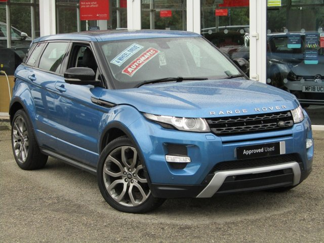 "USED 2013 13 LAND ROVER RANGE ROVER EVOQUE 2.2 SD4 DYNAMIC LUX 5d 190 BHP Finished in MAURITIUS BLUE MET with contrasting EBONY BLACK HEATED LEATHER Trim. This top of the range Evoque comes from one of the most desirable brands on the market today. It is great looking, Fun to drive and a comfortable SUV that has features which include, PANORAMIC SUNROOF, DAB, 20"" ALLOYS, SAT NAV, DAB, HEATED LEATHER MEMORY SEATS, POWER FOLDING MIRRORS. Dealer Serviced at 4 miles, 9963 miles, 16774 miles, 26336 miles, 31996 miles and at 54545 miles on 5/2/2020."