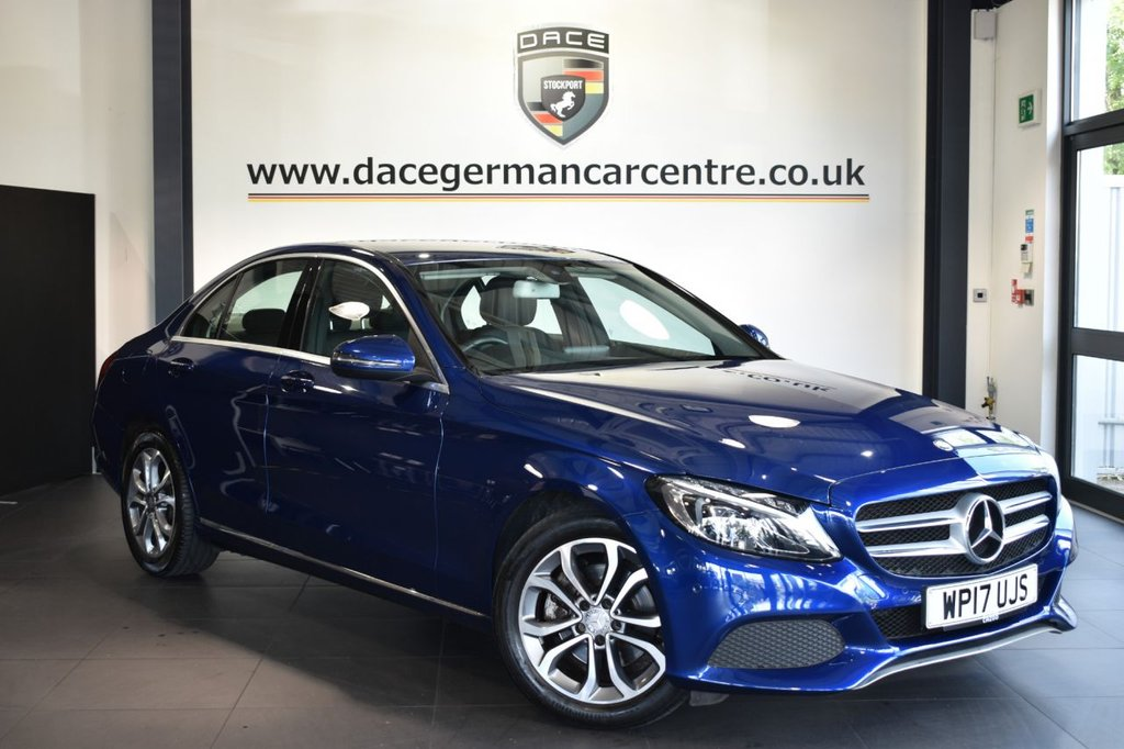 """USED 2017 17 MERCEDES-BENZ C-CLASS 2.0 C 200 SPORT 4DR AUTO 184 BHP Finished in a stunning brilliant metallic blue styled with 17"""" alloys. Upon opening the drivers door you are presented with full leather interior, satellite navigation, bluetooth, heated seats, cruise control, rain sensors, touchpad with rotary pushbutton, electric folding mirrors, dab radio, active park assist"""