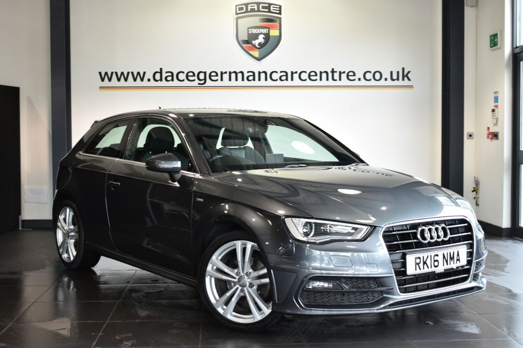 """USED 2016 16 AUDI A3 1.6 TDI S LINE NAV 3DR AUTO 109 BHP Finished in a stunning metallic grey styled with 18"""" alloys. Upon opening the drivers door you are presented with half leather interior, superb service history, satellite navigation, bluetooth, dab radio, multi functional steering wheel, heated mirrors, parking sensors"""
