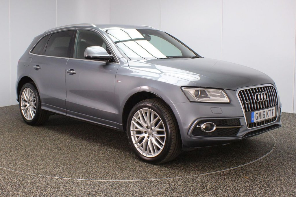 USED 2016 16 AUDI Q5 2.0 TDI QUATTRO S LINE PLUS 5DR 1 OWNER AUTO 187 BHP FULL SERVICE HISTORY + HEATED LEATHER SEATS + SATELLITE NAVIGATION + REVERSE CAMERA + PARKING SENSOR + BLUETOOTH + CRUISE CONTROL + CLIMATE CONTROL + MULTI FUNCTION WHEEL + PRIVACY GLASS + XENON HEADLIGHTS + DAB RADIO + ELECTRIC WINDOWS + ELECTRIC/HEATED/FOLDING DOOR MIRRORS + 20 INCH ALLOY WHEELS