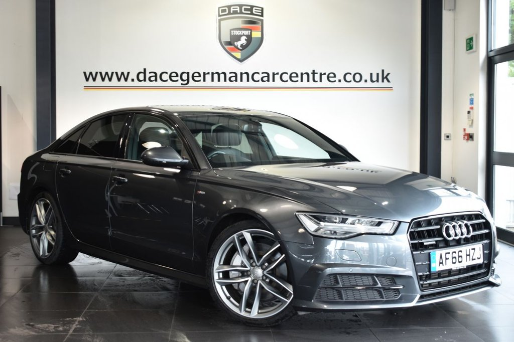 """USED 2016 66 AUDI A6 3.0 TDI QUATTRO BLACK EDITION 4DR AUTO 315 BHP Finished in a stunning metallic grey styled with 20"""" alloys. Upon opening the drivers door you are presented with full leather interior, full service history, satellite navigation, bluetooth, heated sport seats, cruise control, xenon lights, dab radio, bose speakers, climate control, multi functional steering wheel, heated mirrors, parking sensors"""