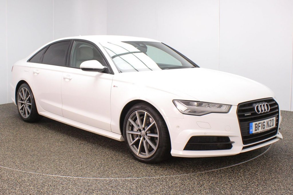 USED 2016 16 AUDI A6 3.0 TDI QUATTRO BLACK EDITION 4DR 1 OWNER AUTO 315 BHP FULL AUDI SERVICE HISTORY + HEATED LEATHER SEATS + SATELLITE NAVIGATION + HEAD-UP DISPLAY + BOSE PREMIUM SPEAKERS + REVERSE CAMERA + PARKING SENSOR + BLUETOOTH + CRUISE CONTROL + CLIMATE CONTROL + MULTI FUNCTION WHEEL + XENON HEADLIGHTS + PRIVACY GLASS + ELECTRIC/MEMORY FRONT SEATS + ELECTRIC WINDOWS + ELECTRIC/HEATED DOOR MIRRORS + 19 INCH ALLOY WHEELS
