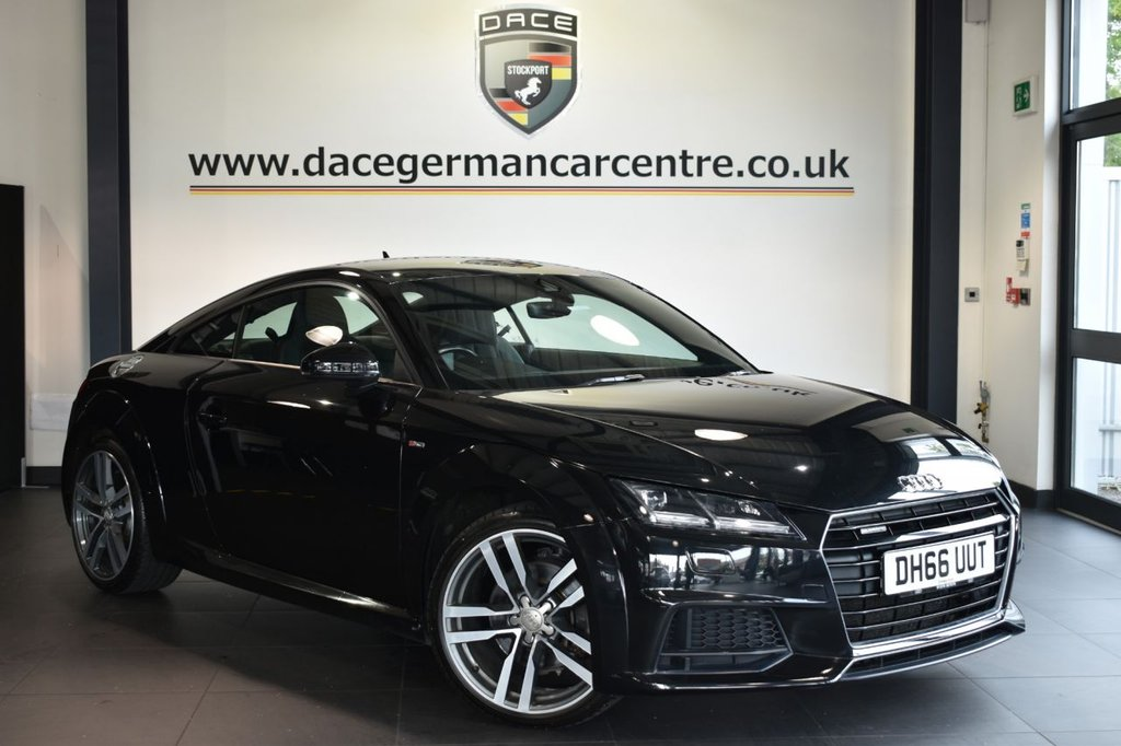 "USED 2017 66 AUDI TT 2.0 TFSI QUATTRO S LINE 2DR AUTO 227 BHP Finished in a stunning black styled with 19"" alloys. Upon opening the drivers door you are presented with half leather interior, full service history, satellite navigation, virtual cockpit, bluetooth, dab radio, sport seats, cruise control,  heated mirrors, climate control, xenon lights, parking sensors"