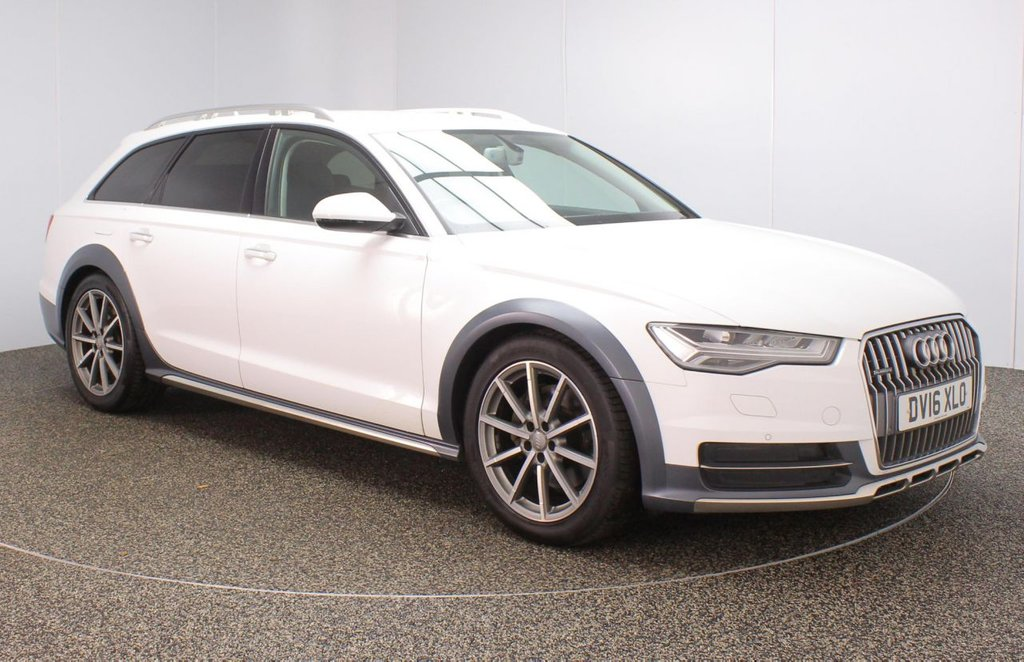 USED 2016 16 AUDI A6 AllRoad 3.0 ALLROAD TDI QUATTRO SPORT 5DR 1 OWNER AUTO 268 BHP FINISHED IN A STUNNING GLACIER WHITE STYLED WITH 19 INCH ALLOYS + BLACK HALF LEATHER SEATS +ELECTRIC MEMORY SEATS + FULL SERVICE HISTORY + SATELLITE NAVIGATION + FRONT AND REAR PARKING SENSORS + BLUETOOTH CONNECTIVITY + CRUISE CONTROL + CLIMATE CONTROL + MULTI FUNCTION WHEEL + PRIVACY GLASS + DAB RADIO +IN CAR ENTERTAINMENT: CD/SD + STOP/START SYSTEM + ELECTRIC WINDOWS + ELECTRIC FOLDING HEATED MIRRORS + 1 OWNER FROM NEW + ULEZ EXEMPT