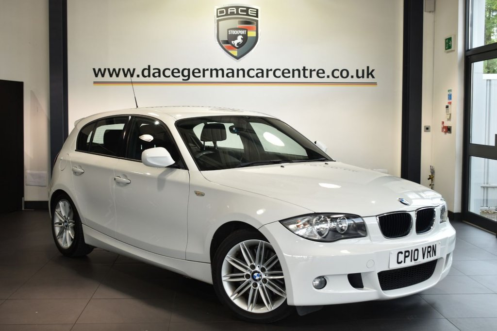 """USED 2010 10 BMW 1 SERIES 2.0 123D M SPORT 5DR 202 BHP Finished in a stunning alpine white styled with 18"""" alloys. Upon opening the drivers door you are presented with half leather interior, bmw service history, sport seats, Multifunction steering wheel, Automatic air conditioning, M Sports package, Fog lights, parking sensors"""