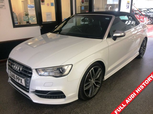 """USED 2016 16 AUDI A3 2.0 S3 QUATTRO NAV 2d 296 BHP Fitted with Navigation, leather and xenon/LED lights package and Bang & Olafsen sound upgrade, this S3 is finished in Glacier white metallic with Black Nappa leather S3 Embossed Heated seats with head level heating system. It is fitted with tracker, paddleshift DSG gearbox, wind deflector, Audi Navigation, cruise control, remote locking, electric windows and mirrors, climate control, LED day lights, Xenon headlights, Bluetooth, drive mode select, 19"""" wing style high gloss titanium style alloys."""