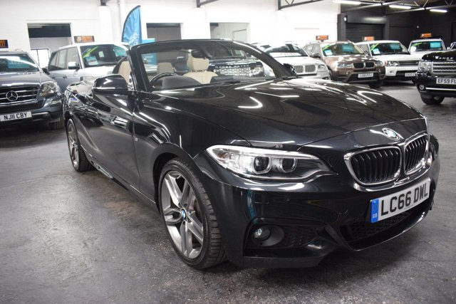 USED 2016 66 BMW 2 SERIES 2.0 220D M SPORT 2d 188 BHP AUTOMATIC CONVERTIBLE SAT NAV - FULL IVORY LEATHER - HEATED SEATS - FRONT AND REAR PDC - PADDLESHIT