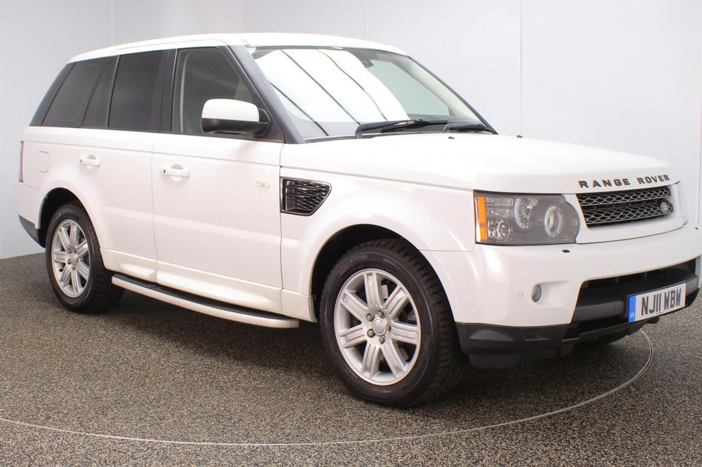 USED 2011 11 LAND ROVER RANGE ROVER SPORT 3.0 TDV6 HSE 5d 245 BHP FINISHED IN A STUNNING WHITE STYLED WITH 19 INCH ALLOYS + BLACK FULL LEATHER INTERIOR + ELECTRIC MEMORY SEATS + HEATED SEATS + SATELLITE NAVIGATION + BLUETOOTH CONNECTIVITY + DAB RADIO + IN CAR ENTERTAINMENT: CD/ IPOD/ USB + REVERSE CAMERA + TELEVISION + CLIMATE CONTROL + MULTI FUNCTION STEERING WHEEL + CRUISE CONTROL + ELECTRIC MIRRORS + ELECTRIC WINDOWS + HARMAN KARDON UPGRADED SPEAKERS + ELECTRIC ADJUSTABLE STEERING COLUMN + SIDE STEPS + PRIVACY GLASS + XENON HEADLIGHTS + DUAL CLIMATE CONTROL