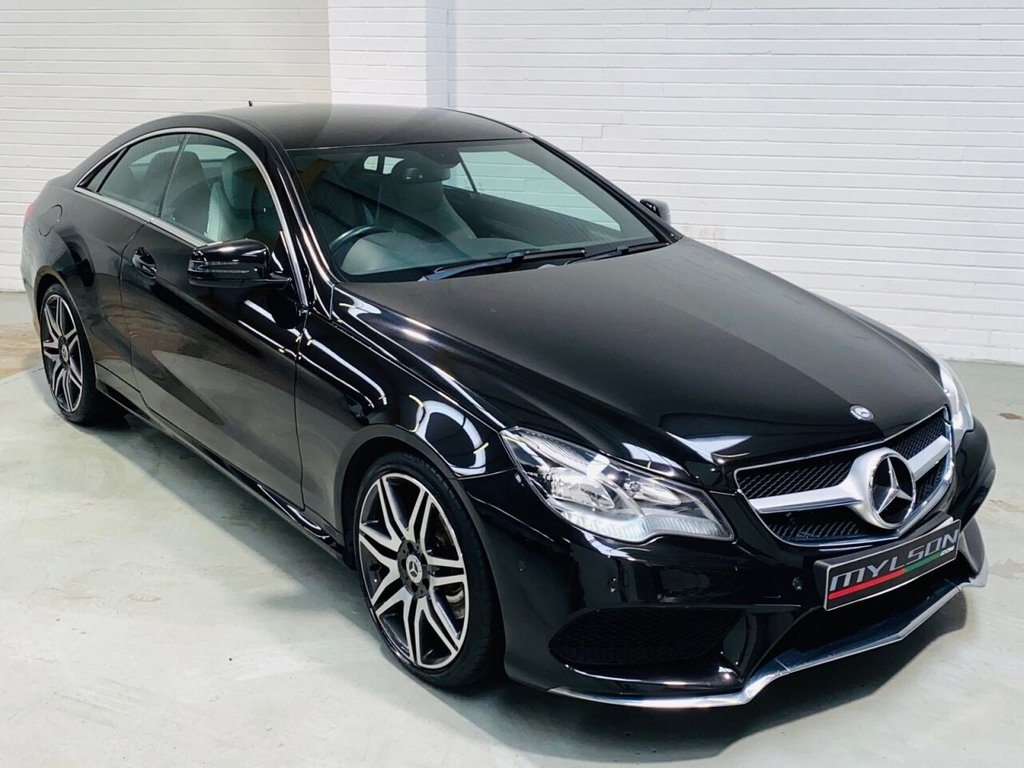 USED 2014 14 MERCEDES-BENZ E-CLASS 2.1 E250 CDI AMG SPORT 2d 204 BHP Black with Silver Leather Interior, Heated Seats, COMAND Media/Sat Nav, 19in AMG Wheels