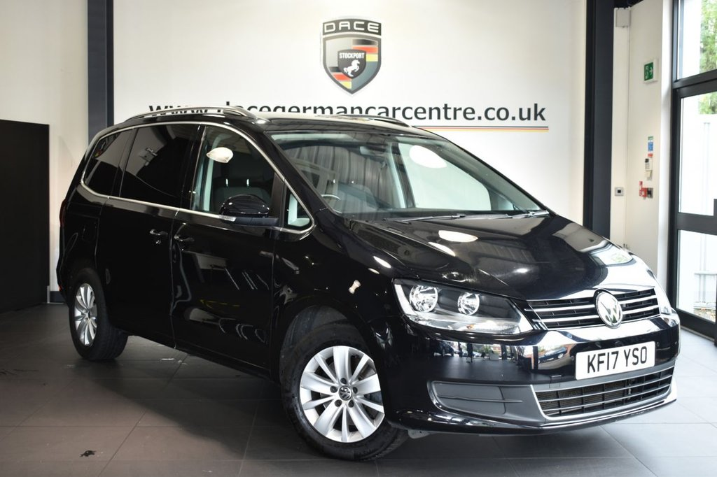 "USED 2017 17 VOLKSWAGEN SHARAN 2.0 SE TDI BLUEMOTION TECHNOLOGY DSG 5DR AUTO 148 BHP Finished in a stunning black styled with 16"" alloys. Upon opening the drivers door you are presented with cloth upholstery, full service history, bluetooth, cruise control, dab radio, multi functional steering wheel, heated mirrors, climate control, 7 seats, parking snesors"