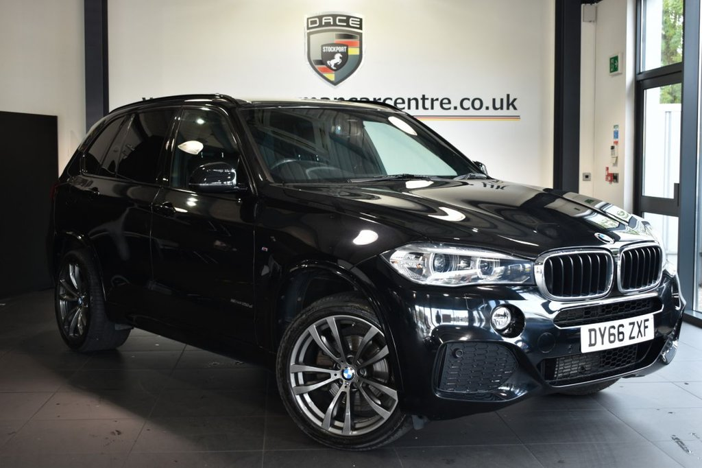USED 2016 66 BMW X5 2.0 SDRIVE25D M SPORT 5DR AUTO 231 BHP Finished in a stunning sapphire metallic black styled with alloys. Upon opening the drivers door you are presented with full leather interior, full service history, pro satellite navigation, bluetooth, heated seats with memory, cruise control, xenon lights, Automatic air conditioning, 7 seats, Auxiliary heating/ventilation, Light package, dab radio, Driving Assistant, LED Fog lights, parking sensors