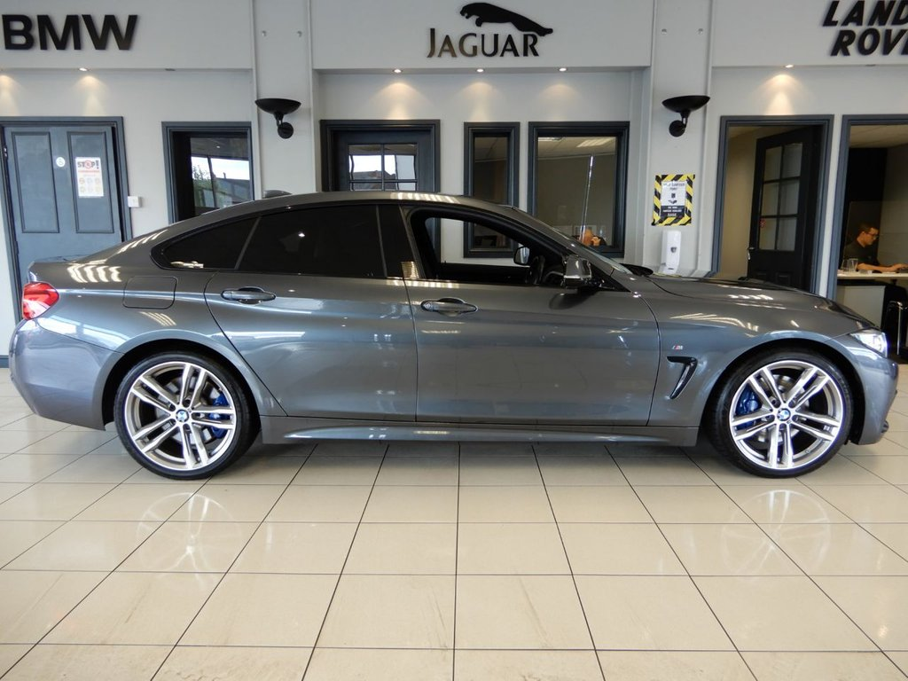 "USED 2017 17 BMW 4 SERIES GRAN COUPE 2.0 420D M SPORT GRAN COUPE 4d AUTO 188 BHP FINISHED IN STUNNING METALLIC MINERAL GREY WITH CONTRASTING BLACK LEATHER HEATED SEATS + PROFESSIONAL SATELLITE NAVIGATION + 1 OWNER FROM NEW WITH DOCUMENTED MAIN DEALER SERVICE HISTORY + M SPORT ADAPTIVE SUSPENSION + XENON HEADLIGHTS WITH LED DAYTIME RUNNING LIGHTS + ADAPTIVE CRUISE CONTROL + DUAL ZONE AIR CONDITIONING + CLIMATE CONTROL + SELECTABLE DRIVING MODES + 18"" UNMARKED DIAMOND CUT ALLOY WHEELS"