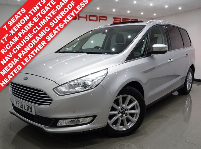 "USED 2018 18 FORD GALAXY 2.0 TDCI (150 BHP) TITANIUM X POWERSHIFT..7 SEATS..NAV..PAN ROOF..LEATHER..HIGH SPEC !! PANROOF+18""+XENON+R/CAM+TINTS+LEATHER+CRUISE+7SEATS"