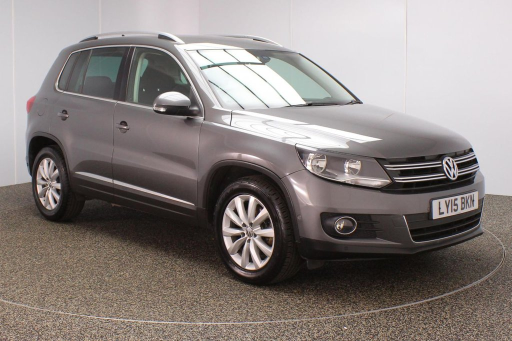 USED 2015 15 VOLKSWAGEN TIGUAN 2.0 MATCH TDI BLUEMOTION TECHNOLOGY 5DR 1 OWNER 139 BHP FULL VW SERVICE HISTORY + SATELLITE NAVIGATION + PARK ASSIST + PARKING SENSOR + BLUETOOTH + CLIMATE CONTROL + MULTI FUNCTION WHEEL + PRIVACY GLASS + DAB RADIO + AUX/USB PORT + ELECTRIC WINDOWS + ELECTRIC/HEATED DOOR MIRRORS + 17 INCH ALLOY WHEELS