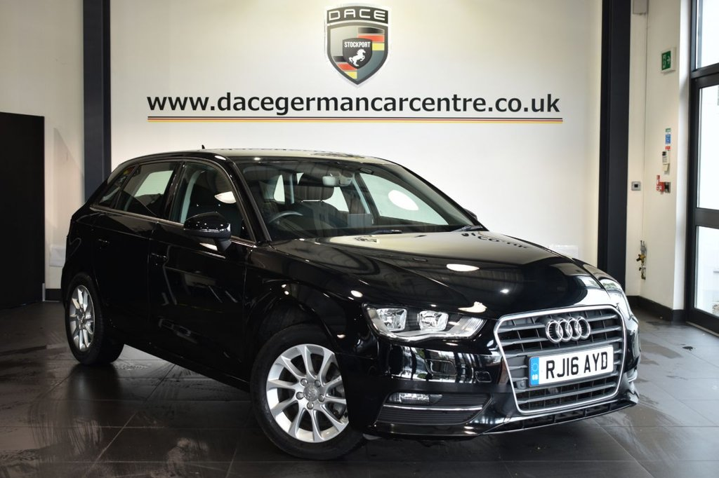 """USED 2016 16 AUDI A3 1.4 TFSI SE 5DR AUTO 148 BHP Finished in a stunning black styled with 16"""" alloys. Upon opening the drivers door you are presented with cloth upholstery, full service history, bluetooth, cruise control, dab radio, multi functional steering wheel, heated mirrors, parking sensors"""