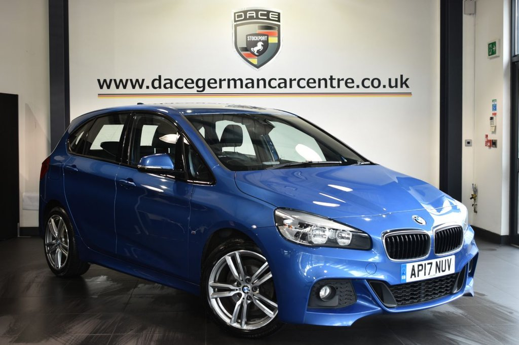 """USED 2017 17 BMW 2 SERIES ACTIVE TOURER 2.0 218D M SPORT 5DR AUTO 148 BHP Finished in a stunning estoril metallic blue styled with 18"""" alloys. Upon opening the drivers door you are presented with full leather interior, full service history, satellite navigation, bluetooth, cruise control, sport seats, dab radio, Automatic air conditioning, Connected Drive Services, rain sensors, parking sensors"""