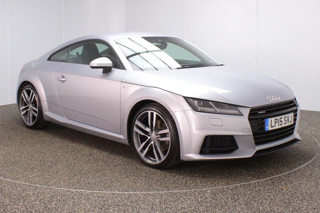 USED 2015 15 AUDI TT 2.0 TFSI QUATTRO S LINE 2DR 1 OWNER AUTO 227 BHP FULL SERVICE HISTORY + HEATED HALF LEATHER SEATS + AUDI VIRTUAL COCKPIT + BLUETOOTH + CRUISE CONTROL + MULTI FUNCTION WHEEL + AIR CONDITIONING + LANE ASSIST SYSTEM + XENON HADLIGHTS + DAB RADIO + AUX/USB/SD PORTS + ELECTRIC WINDOWS + ELECTRIC/HEATED DOOR MIRRORS + 19 INCH ALLOY WHEELS