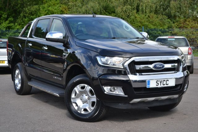 USED 2017 17 FORD RANGER 3.2 LIMITED 4X4 DCB TDCI 4d 197 BHP ~ SAT NAV ~ HEATED LEATHER SYNC SAT NAV ~ REVERSE CAMERA ~ FULL HEATED BLACK LEATHER