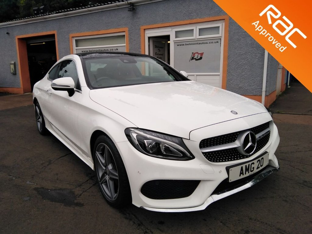 USED 2016 16 MERCEDES-BENZ C-CLASS 2.1 C 220 D AMG LINE PREMIUM PLUS 2d 168 BHP Panoramic Glass Roof, Colour Screen Sat Nav, Red Leather, Heated Seats, Bluetooth, Massive Spec Stunning