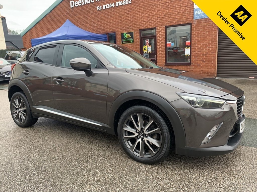 USED 2016 66 MAZDA CX-3 2.0 SPORT NAV 5d 118 BHP Bluetooth : Sat Nav : DAB Radio : Leather upholstery : Heated front seats : Isofix fittings : Mazda Heads-up display system :     Mazda Lane Departure control system   :     Sport mode     :     BOSE sound system     :     Rear view camera plus rear sensors