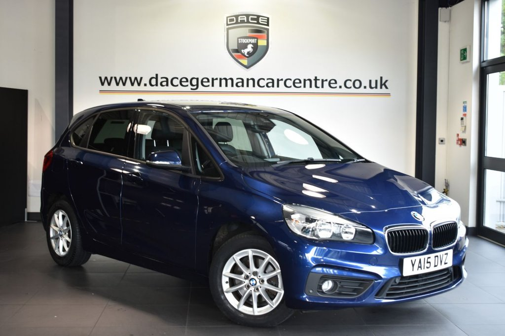USED 2015 15 BMW 2 SERIES ACTIVE TOURER 2.0 218D SE 5DR AUTO 148 BHP Finished in a stunning mediterranean metallic blue styled with alloys. Upon opening the drivers door you are presented with full leather interior, full service history, satellite navigation, bluetooth, heated seats, cruise control, dab radio, Multifunction steering wheel, Automatic air conditioning, Park Assist, automatic boot lid, Rain sensors, parking sensors