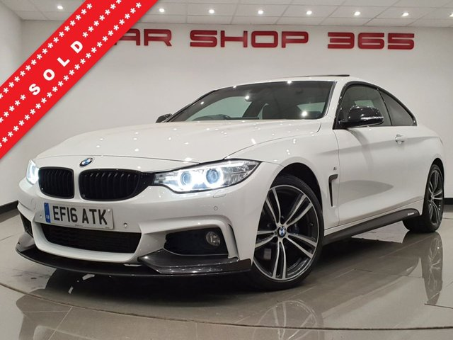 USED 2016 16 BMW 4 SERIES 2.0 420D (190 BHP) M SPORT XDRIVE AUTO COUPE 2DR..'M PERFORMANCE PACK'..9,000 POUNDS EXTRAS..E/SUNROOF..NAV..E/M/HEATED LEATHERS..KEYLESS..PRIVACY 4WD+M PERFORMANCE+SUNROOF+LED+TINTS+PARK+LEATHR+NAV