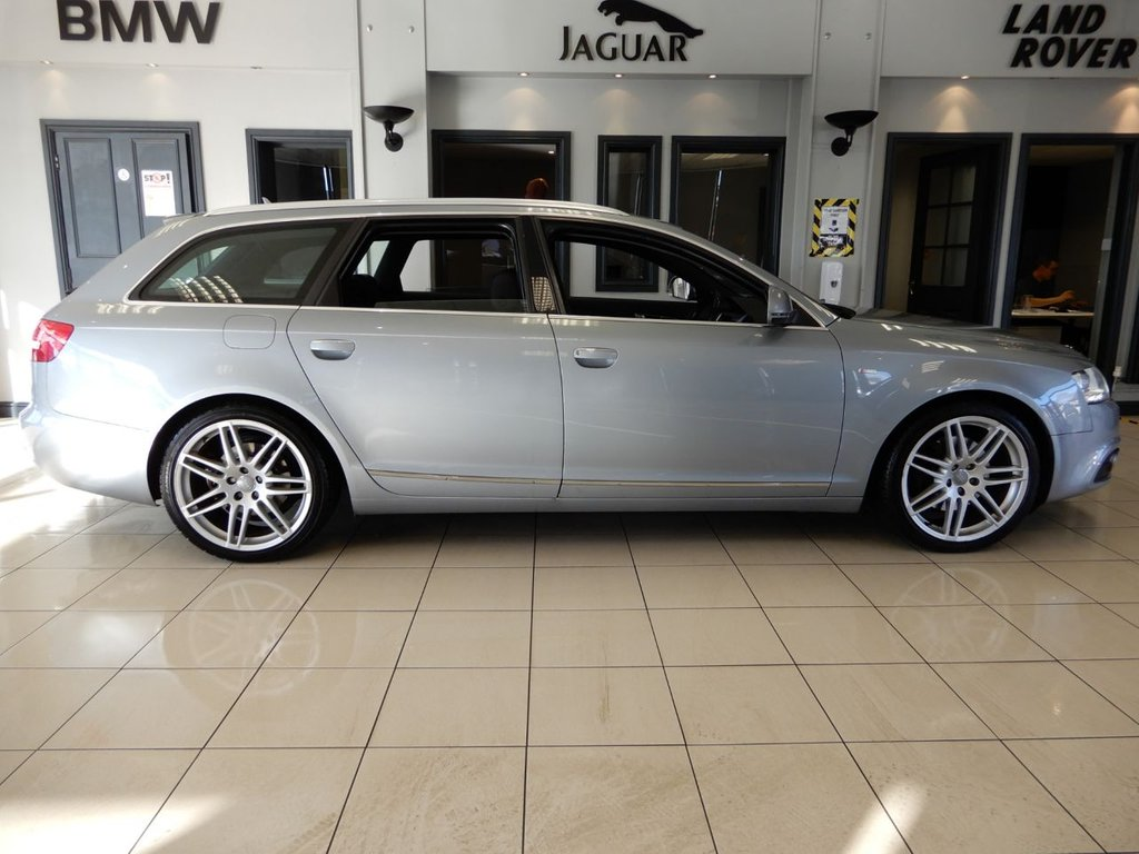 """USED 2011 11 AUDI A6 AVANT 2.0 AVANT TDI S LINE SPECIAL EDITION 5d 168 BHP FINISHED IN STUNNING METALLIC SILVER WITH CONTRASTING FULL BLACK LEATHER HEATED SEATS + FULLY DOCUMENTED SERVICE HISTORY + SATELLITE NAVIGATION + FM/AM RADIO + IN CAR ENTERTAINMENT AUX/USB + BLUETOOTH + DUAL ZONE AIR CONDITONING + CLIMATE CONTROL + ELECTRIC HEATED MIRRORS + AUTOMATIC XENON HEALIGHTS + CRUISE CONTROL + MULTIFUNCTION STEERING WHEEL + 19"""" SILVER ALLOY WHEELS + STUNNING CAR VERY WELL MAINTAINED"""